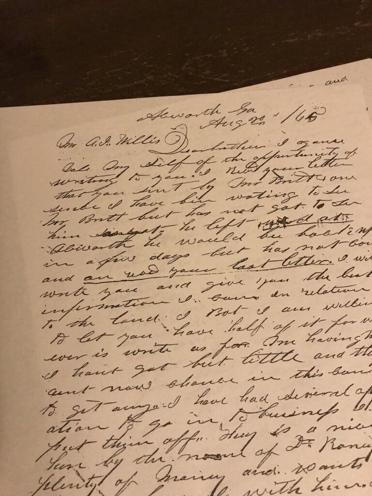 Abel Willis 1865 letter Around Acworth